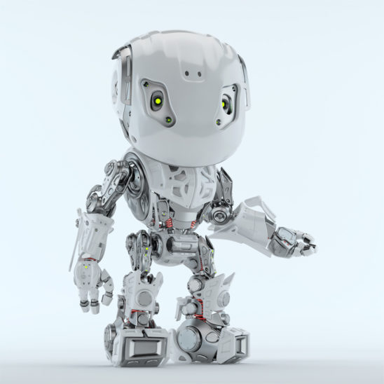Gesturing Bbot robotic character in white 3d render