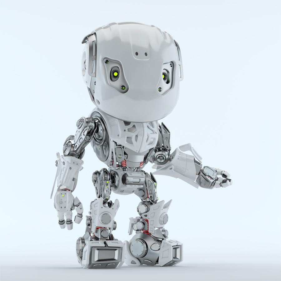 Gesturing Bbot robotic character in white 3d render
