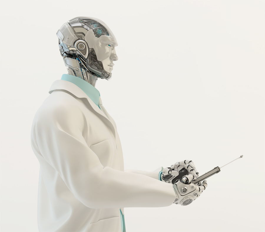 Robot doctor in medical gown with tablet in profile