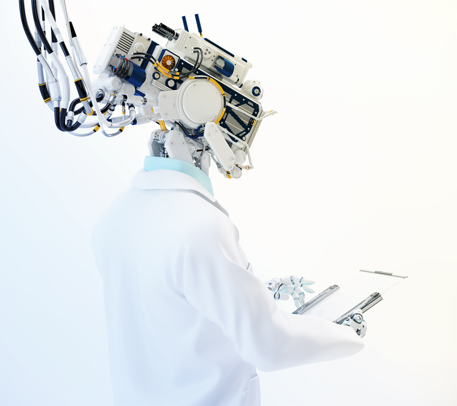Connected cyborg in medical gown holding tablet backwards