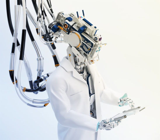 Connected cyborg in medical gown holding tablet in upper view side angle