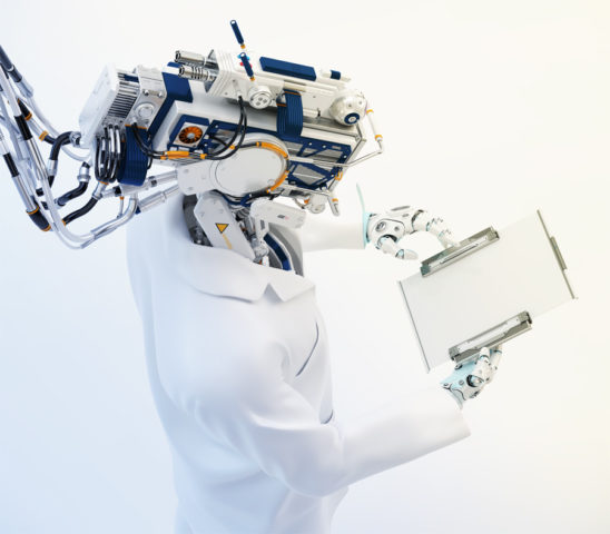 Connected cyborg in medical gown holding tablet backwards upper view 3d render