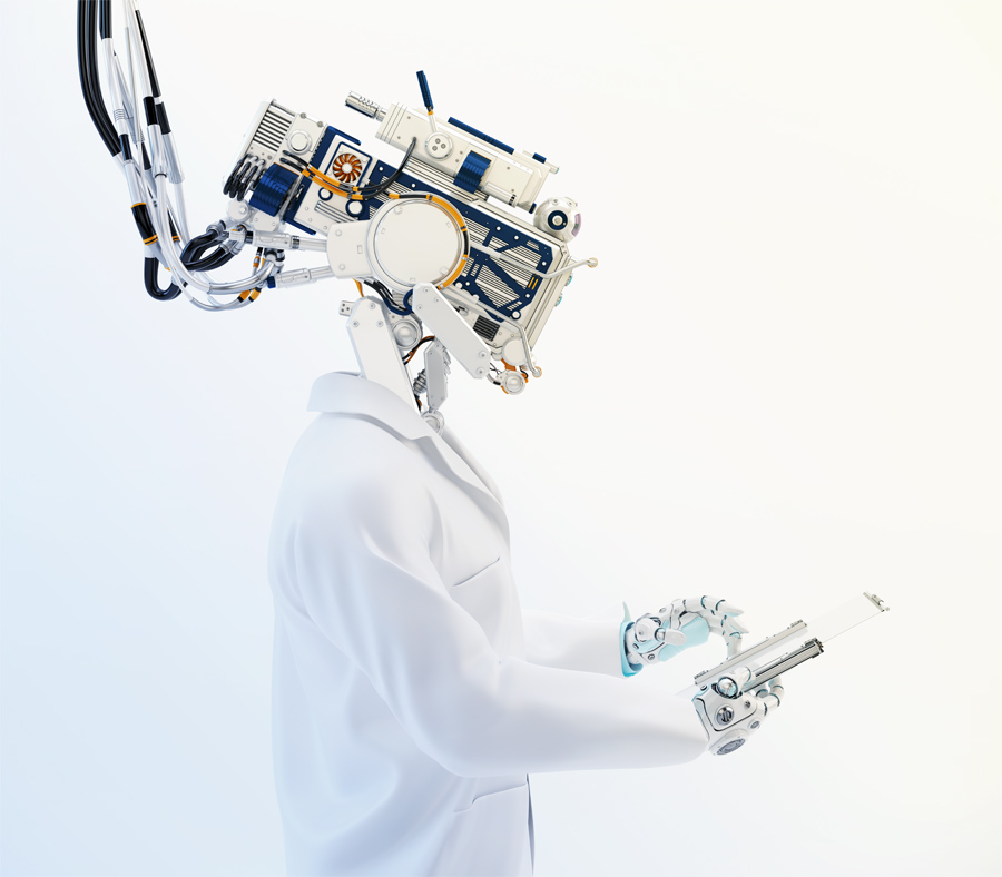 Artificial robot doctor, cyborg medical specialist working with tablet pc in profile 3d render