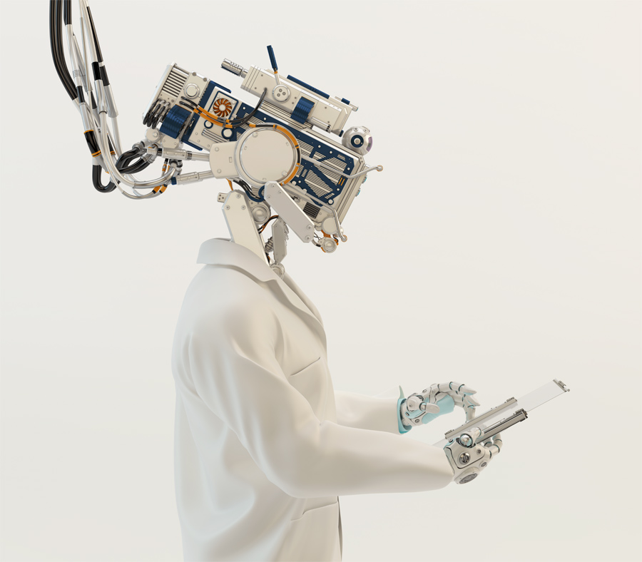 Artificial robot doctor, cyborg medical specialist working with tablet pc in profile, 3d render