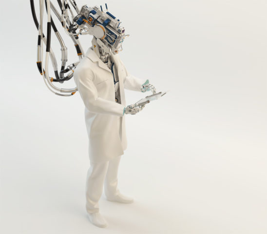Artificial robot doctor, cyborg medic specialist working with tablet pc in full heigth upper view, 3d render
