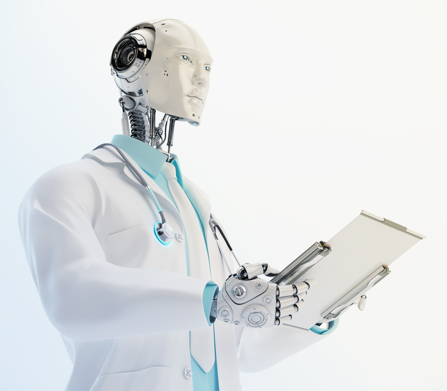 Humanoid robot doctor with illuminated stethoscope wears medical gown and tie holding tablet in profile