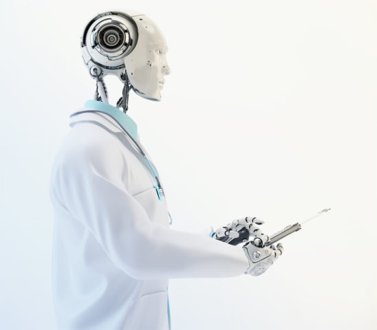 Humanoid robot doctor with illuminated stethoscope wears medical gown and tie holding tablet in side render