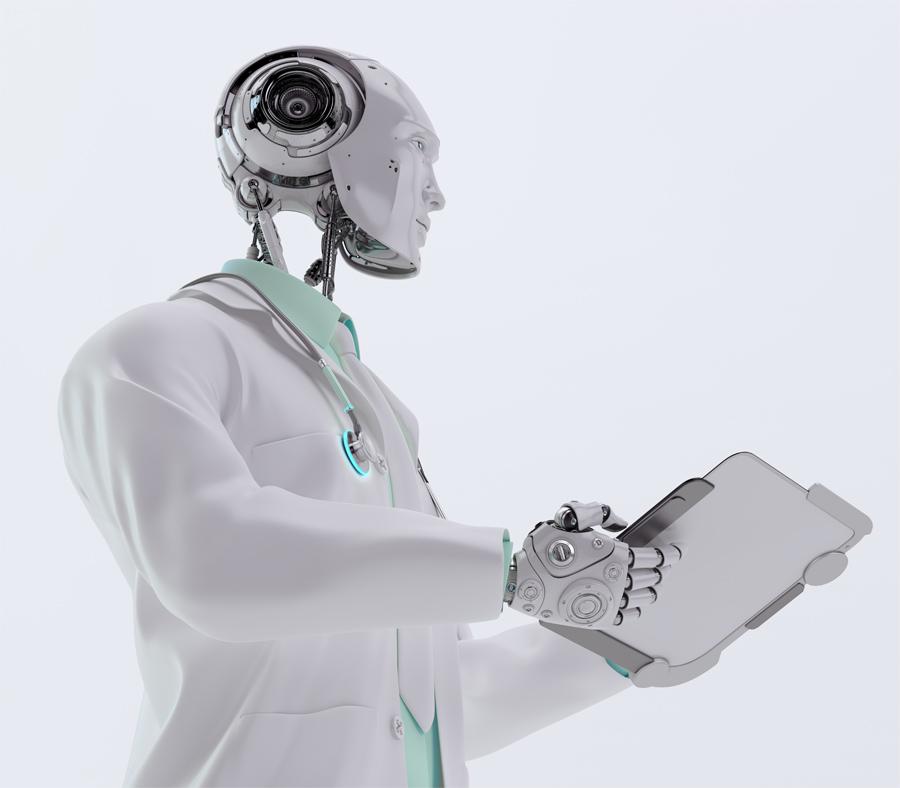 Futuristic robot healer holding tablet pc