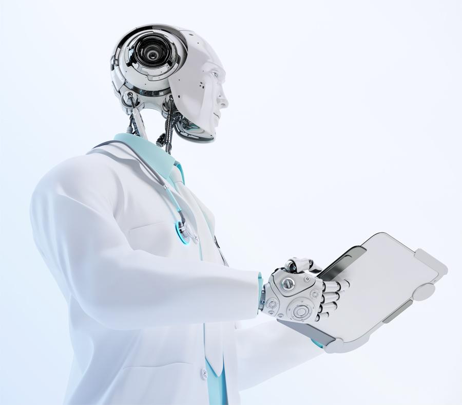 Futuristic robot healer holding tablet pc 3d render