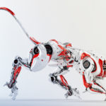 Wild red-white robotic panther 3d render
