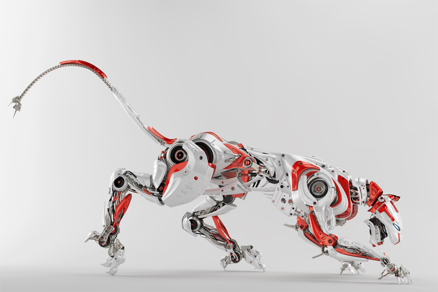 Robot hunter - cyborg panther in white-red colors in side renders