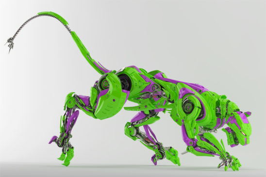 Toxic robot panther in bright green with violet colors