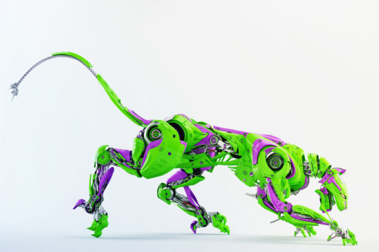Green and violet wild panther robot 3d render