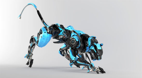 Black and blue robotic puma