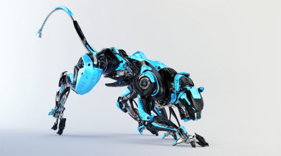 Black and blue robotic puma 3d render in side angle