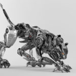 Steel robot puma in hunting mode