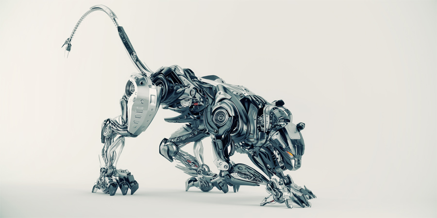 Steel robot puma in hunting mode 3d side render