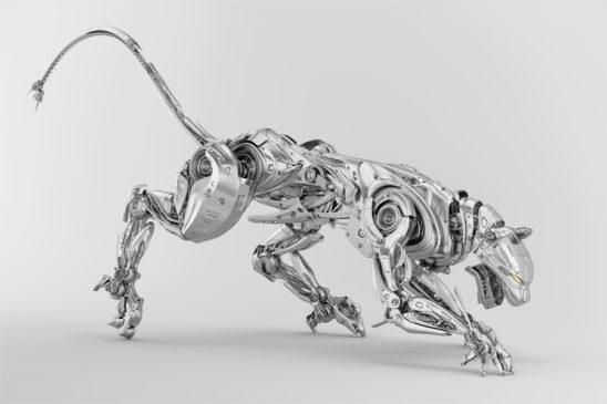 Elegant silver robot panther