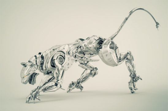 Elegant silver robot panther hunter 3d render in side angle