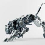 Steel robotic jaguar cat 3d side render