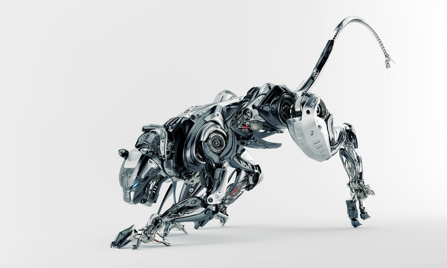 Steel robotic jaguar cat 3d side render