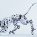 Artificial silver puma robot dangerous and wild cyber animal in side 3d render