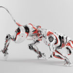 Athletic robotic panther in a creeping posture