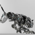 Steel robotic jaguar cat 3d side render. Panther – a mythical creature resembling a large black cat