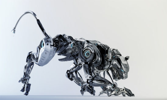 Steel robotic jaguar cat 3d side render in a creeping pose. Panther – a mythical creature resembling a large black cat