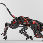 Black-red robotic jaguar cat 3d side render in a creeping pose.