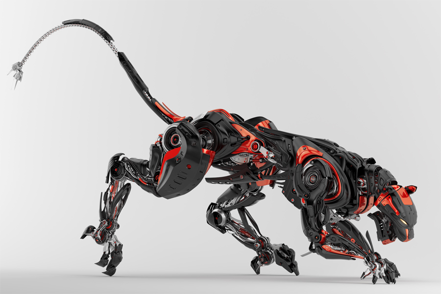 Black-red robotic jaguar cat 3d side render in a creeping pose.
