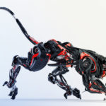 Black-red robotic jaguar cat 3d side render in a creeping pose