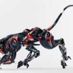 Black-red robotic jaguar cat 3d side render in a creeping pose