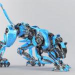 Blue-grey robot panther in creeping pose 3d render