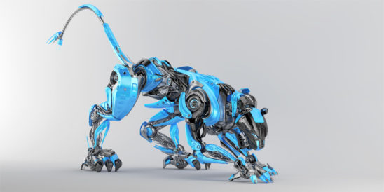 Blue-grey robot panther in creeping pose 3d render