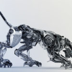 Steel robotic jaguar cat 3d side render in a creeping pose. Panther – a mythical creature resembling a large black