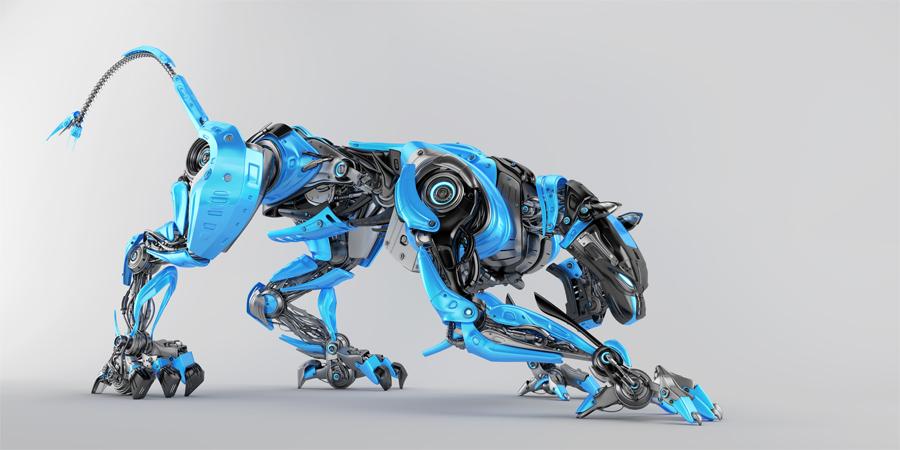 Blue-grey robot panther