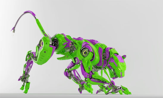 Green with violet parts crazy hungry cyber cat in creeping pose 3d render