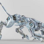 Light blue pearl robot panther hunting