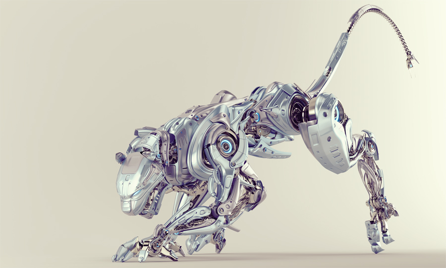 Light blue pearl robot panther hunting 3d render