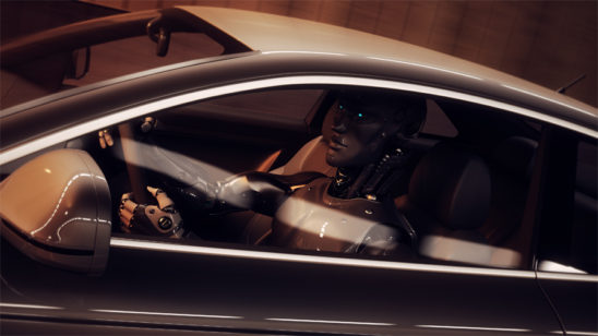 Futuristic robot driving car 3d render