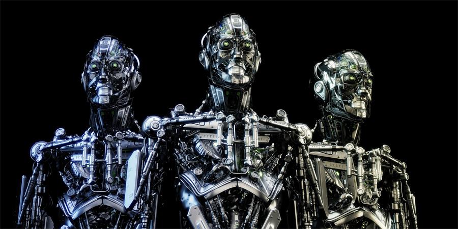 Steel mecha robots trio on black background
