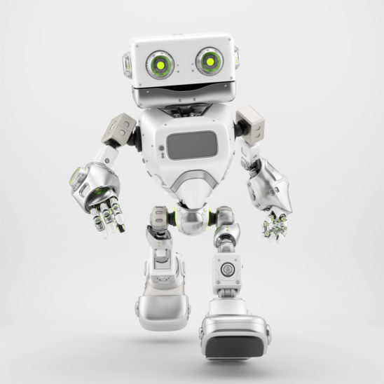 Friendly walking retro robot in white silver color 3d render