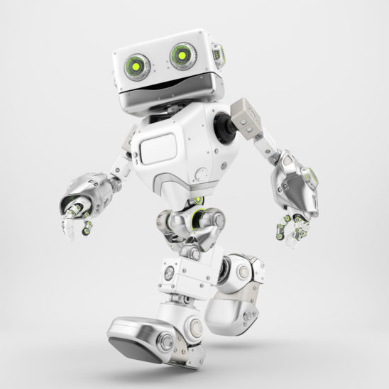 Friendly walking retro robot in white silver color side 3d render