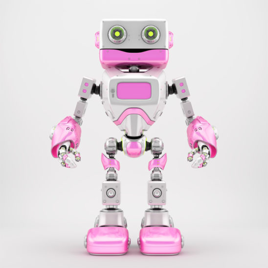 Positive white pink retro robotic toy 3d render