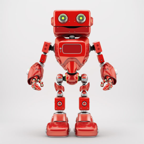 Positive juicy red retro robotic toy 3d render