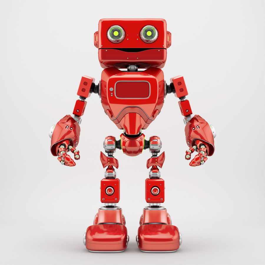 Positive juicy red retro robotic toy 3d render