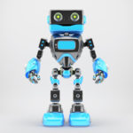Black and blue retro robotic toy 3d render