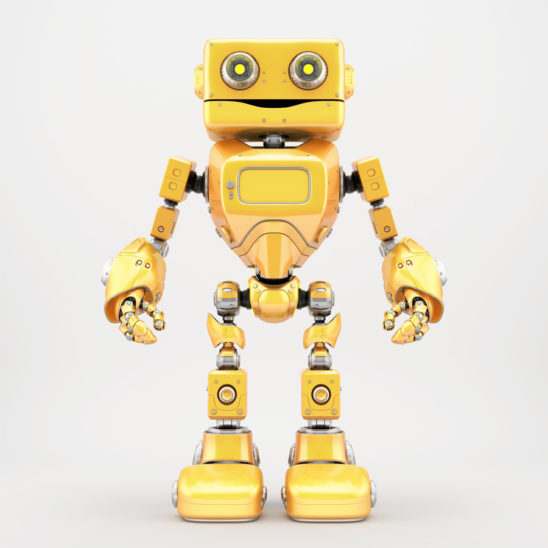 Bright yellow retro robotic toy 3d render