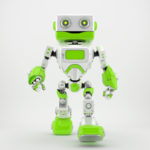 Friendly walking retro robot with fresh green parts 3d render